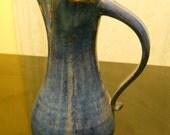 Ocean blue glazed tall pitcher