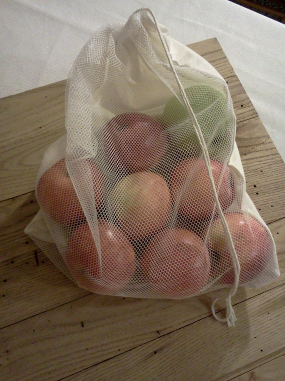 Produce Bags, Medium, Reusable Vegetable Bag, Farmers Market, Shopping Bag