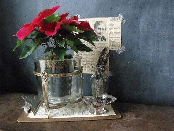 Vintage Metal and Glass Planter/Vase/Candle Holder