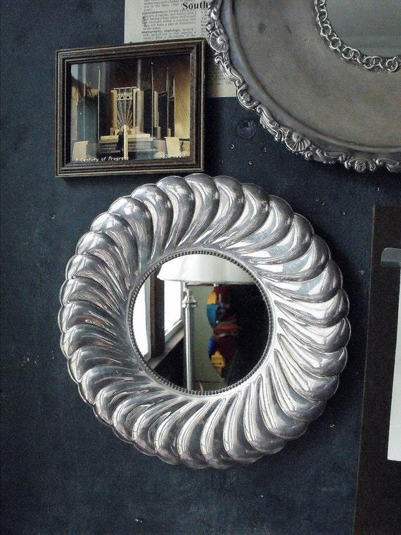 Vintage Fluted Edged Metal Mirror