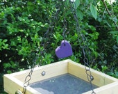 Lovin the American Goldfinch - Yellow Hanging Bird Feeder Tray, Recycled Materials, Vintage Hardware