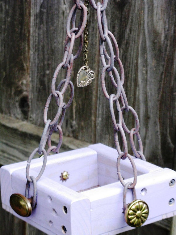 The Purple Finch - Mini Bird Feeder with Brass Hardware, Plant Hanger Included, Heart Charm, Recycled