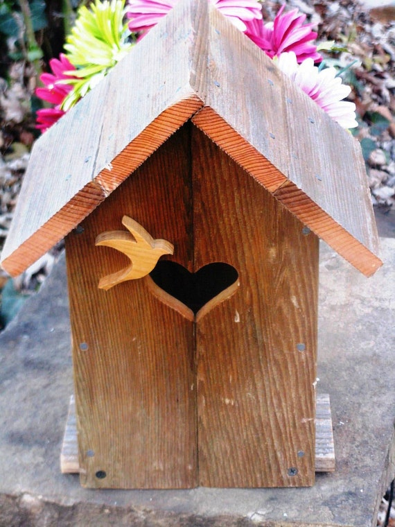 The Lovebird, Rustic Birdhouse, Hanging or Tabletop, Upcycled Materials, Wood Bird House
