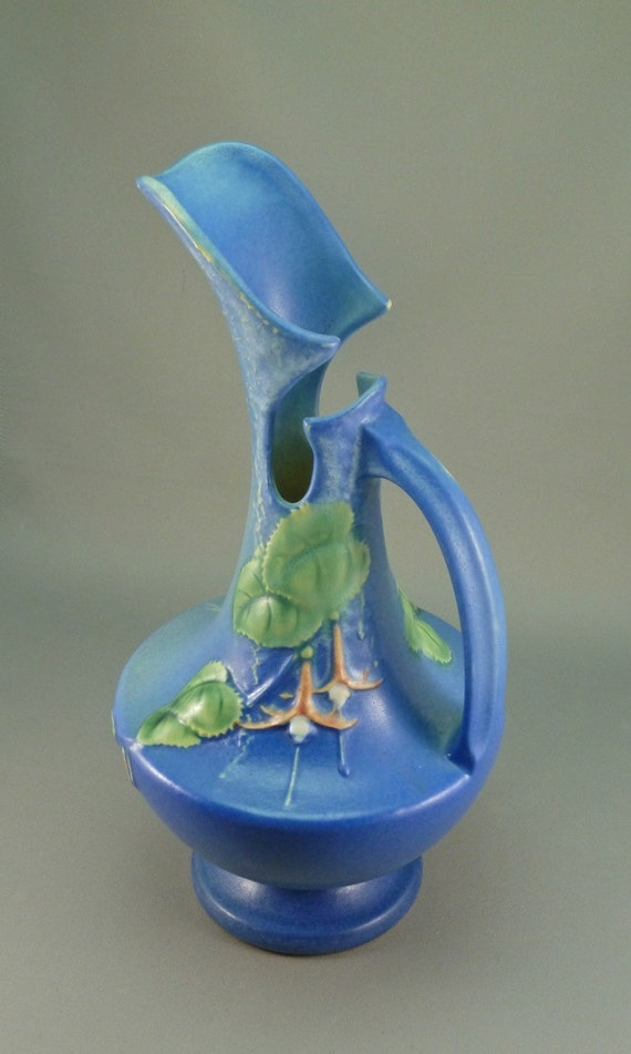 Roseville Pottery Fuchsia Ewer in blue, 902-10 PRICE REDUCED