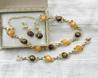 Beautiful Vintage Sarah Coventry Tawny Shadows Parure in Autumn colours