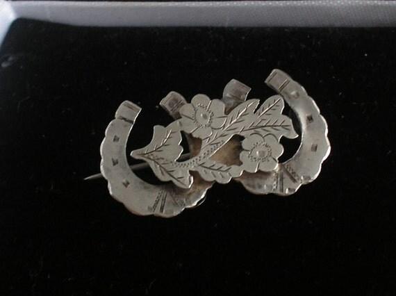 SALE! Antique Victorian Silver Horsehoe Brooch Wedding
