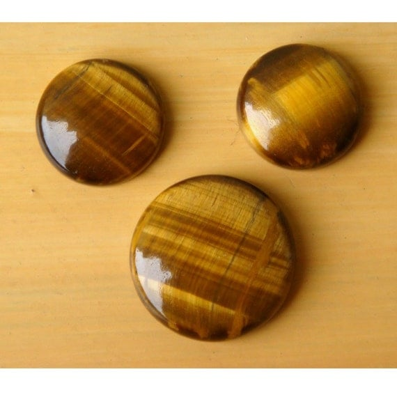 Tigers Eye - Natural Round Shaped - 3 Pc Set - Matched Pair 14 mm Each - Focal Pendant 18 mm Approx.