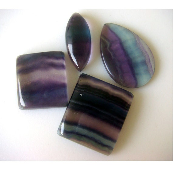 Wholesale Flourite - Flourite Focal Pendants - Four Pieces - Varied Shaped - 30mm To 22mm Approx