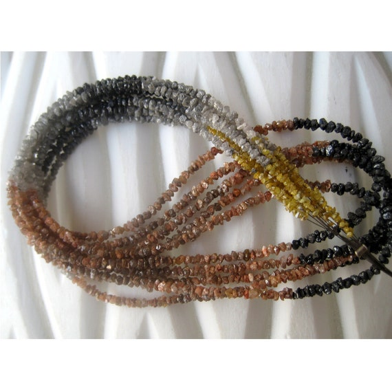 Rough Diamonds - Natural Multicolored Rough Diamond Uncut Beads - 3mm To 1.5mm - 8 Inch Half Strand