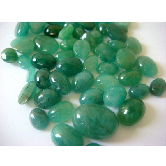 Wholesale Emerald Cabochon Lot - Oval Brazilian Emerald Cabochons - 9x11mm To 4x6mm - 76 CTW - 75 Pieces Approx