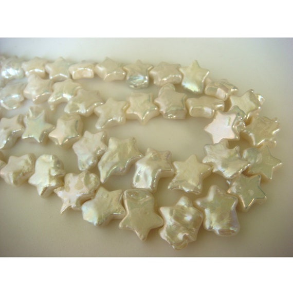 Natural Fresh Water Pearls - Star Shaped 11x11mm Each - 15 Inch Strand - 38 Pieces Approx.