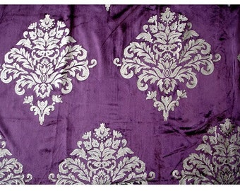 Purple and Silver Glitter Printed Damask - Velvet Fabric With Glitter Printing
