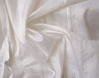 WHOLESALE OFFER 10% OFF - 6 Yards Ivory 100 Percent Pure Silk Dupioni Fabric