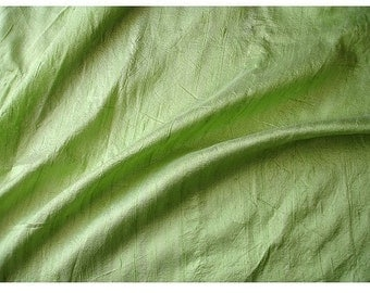 WHOLESALE OFFER 17% OFF - 10 Yards Lime Green 100 Percent Pure Silk Dupioni Fabric