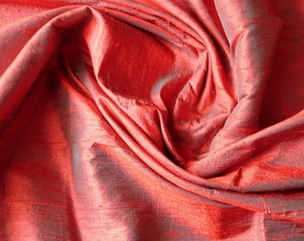 WHOLESALE OFFER 17% OFF - 10 Yards Red And Green Color 100 Percent Pure Silk Dupioni Fabric