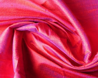 Red & Ink Blue 100 Percent Pure Silk Dupioni Fabric Decorative Fabric Wholesale Silk Fabric Raw Silk Fabric Indian Silk Fabric By The Yard