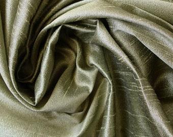 Dark Olive Green Art Silk Fabric - 1 Yard