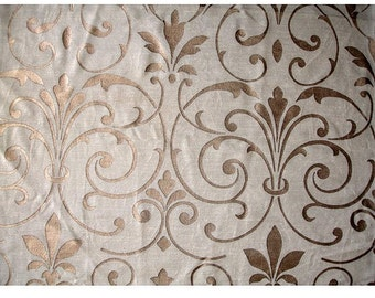 Pearl Blossom - Ivory Velvet Fabric With Pearl Print with Slub Effect