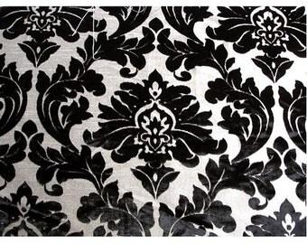 Black Heavenly Damask - Burnout Velvet on Fancy Fabric
