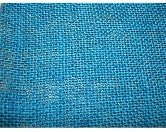 Blue Burlap Fabric - 1 Yard