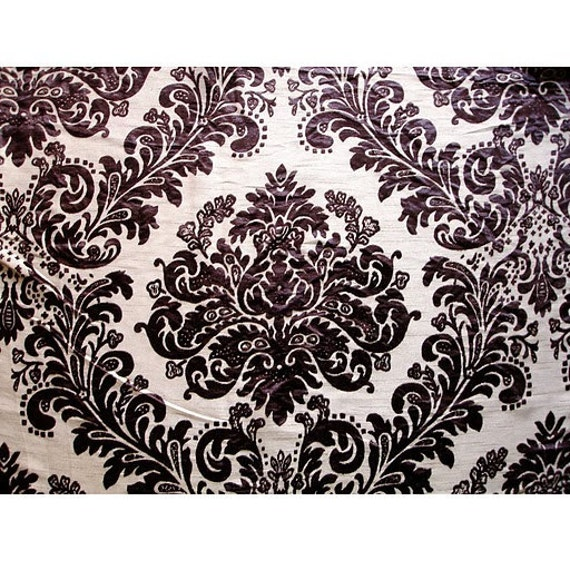 Beige And Wine Damask - Burnout Velvet on Fancy Fabric