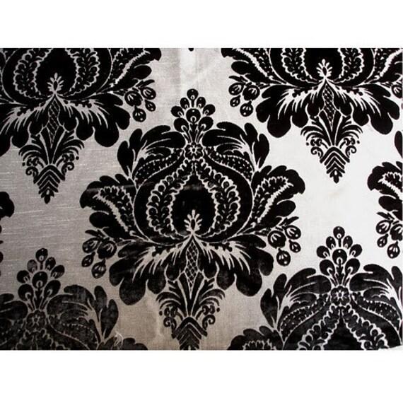 black and silver floral damask burnout velvet on