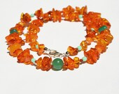 Southwest Sunset Necklace Baltic Amber with Complementing Aqua and Yellow Stones