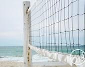 "Aqua Serene series: Day At The Beach (5x7"" print) Beach Photography, Volleyball, Sand, Sea, Aqua Marine"