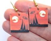 Sunset Sailboat Photo Earrings, Square, Brilliant Orange, Fiery Sunset Image, Great Gift