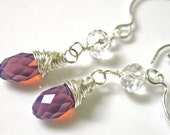 Reserved for Karly-Violet Purple Crystal Earrings-Sterling Silver Wire Wrapped Swarovski Crystals