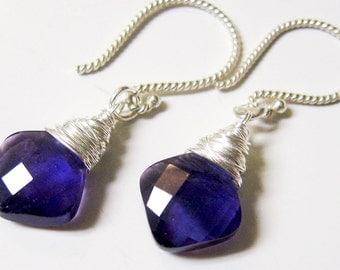 Purple Amethyst Earrings- Sterling Silver Wire Wrapped