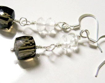 Smoky Quartz Faceted Cube Earrings-Silver, Clear quartz, wire wrapped