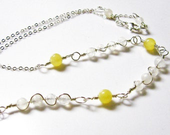 Rainbow Moonstone and Citrine Necklace- Sterling Silver, wire wrapped