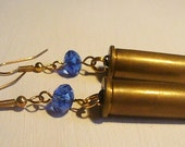 Pretty 38 Special Bullet Shell Original Earrings - Blue Sparkly Glass Beads