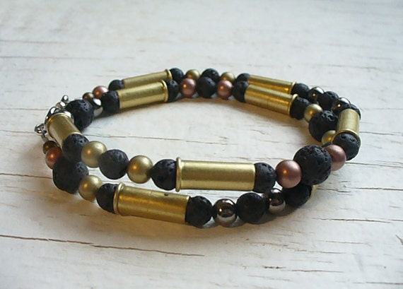 Double Wrap Bullet Shell Bracelet - Black Lava and Metal - Unique Sterling Silver Mens Bullet Casing Jewelry