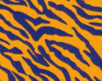 Fabric Finders Purple and Gold Tiger Stripe Cotton Fabric
