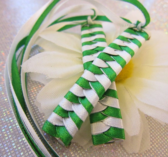 Braided Ribbon Barrette - Girl Scout - Retro - Green and White