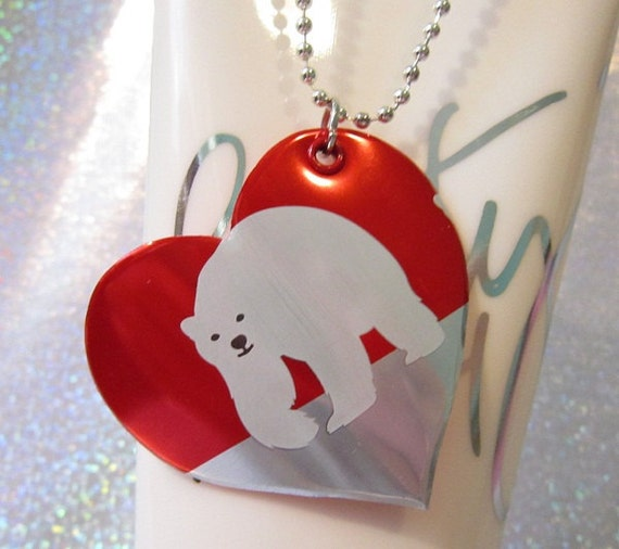 Polar Bear - Soda Can Necklace - Cute Teen Jewelry