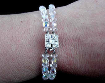 Vintage Double Stranded AB Clear Crystal Bracelet with Marcasite Clasp