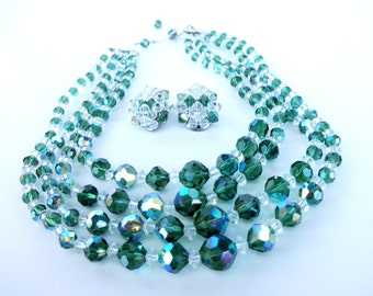 Vintage Green AB Fine Crystal Necklace and Earring Set