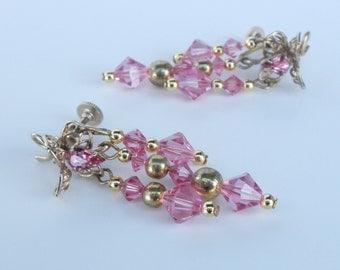 Vintage Pink Teardrop Rinestone and Goldtone Earrings