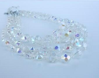 Vintage - Necklace, Swarovski Crystal AB Four Strand Choker