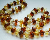 Cognac and  Light  Baroque  High Quality  AMBER  BABY TEETHING  Necklace.