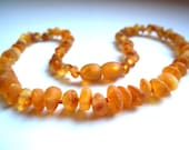 Maximum genuine beauty  Raw Unpolished  Baltic  Amber Baby Teething  Necklace. Cognac colour.