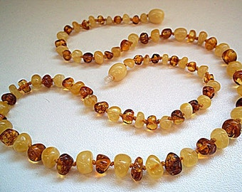 White & Cognac Baltic  Amber  Necklace   19.7  inches.