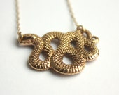 Gold Snake Necklace - Halloween Jewelry . Gold Snake Pendant . Talisman Necklace . Spooky Gifts for Her . October Fashion