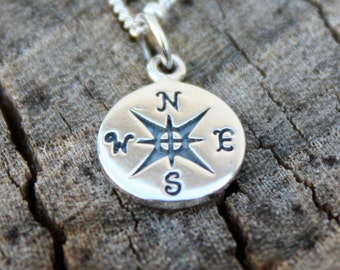 Compass Necklace - Graduation Gift, Jewelry . Sterling Silver . Compass Pendant . Gift Idea for Grad