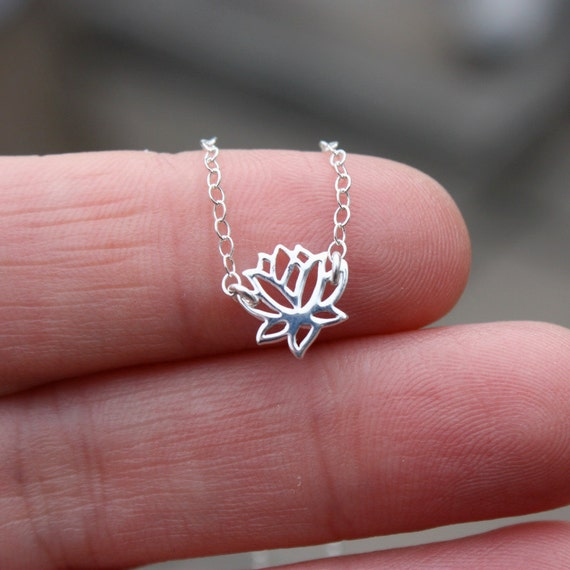 Tiny Lotus Flower Necklace - Sterling Silver Lotus Flower Charm . Yoga Jewelry . Zen Necklace . Minimal . Gift for Her