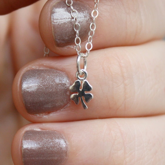 Tiny Four Leaf Clover Necklace - Gift Idea for Her, Kids & Baby. Available in Sterling Silver or Rose, Yellow Gold Plated Silver