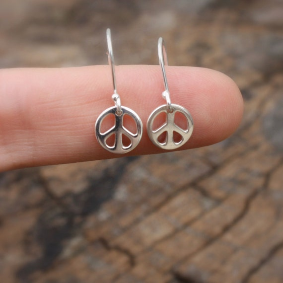 Sterling Silver Peace Sign Earrings - Womens Jewelry . Gifts for Her .